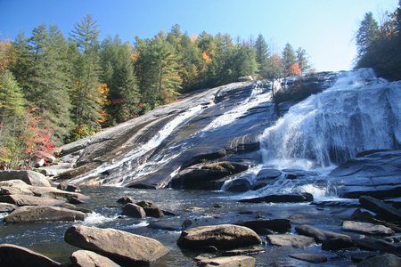 High Falls in the DuPont State Forest in North Carolina. Stock Photo