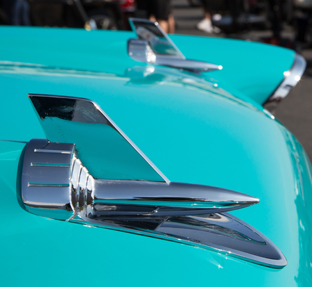 CONCORD, NC - September 22, 2017:  1957 Chevrolet Bel Air hood ornaments on display at the Pennzoil AutoFair Classic Car Show at Charlotte Motor Speedway. Editorial