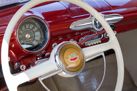 CONCORD, NC - September 22, 2017:  Interior of a 1950 Ford on display at the Pennzoil AutoFair Classic Car Show at Charlotte Motor Speedway. Editorial