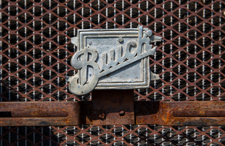 CONCORD, NC - September 22, 2017:  Closeup of a 1929 Buick nameplate on display at the Pennzoil AutoFair classic car show held at Charlotte Motor Speedway.