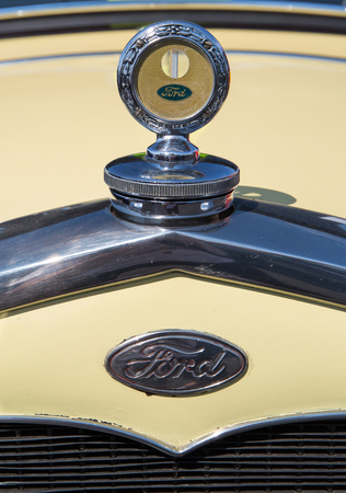 CONCORD, NC - September 22, 2017:  Closeup of a 1928 Ford hood ornament on display at the Pennzoil AutoFair classic car show held at Charlotte Motor Speedway.