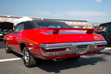 CONCORD, NC - September 22, 2017:  A 1970 Pontiac GTO Judge automobile on display at the Pennzoil AutoFair classic car show held at Charlotte Motor Speedway.