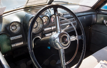 CONCORD, NC - April 8, 2017:  Dashboard of an unrestored 1949 Buick automobile on display at the Pennzoil AutoFair classic car show held at Charlotte Motor Speedway.