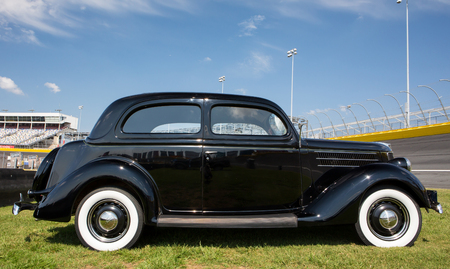 CONCORD, NC - April 8, 2017:  A 1936 Ford automobile on display at the Pennzoil AutoFair classic car show held at Charlotte Motor Speedway.