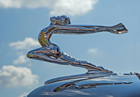 CONCORD, NC - April 8, 2017:  Hood ornament of a 1934 Buick automobile on display at the Pennzoil AutoFair classic car show held at Charlotte Motor Speedway. Editorial