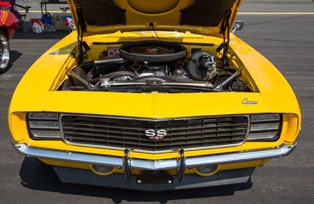 CONCORD, NC - April 8, 2017:  A 1969 Chevy Camaro SS automobile on display at the Pennzoil AutoFair classic car show held at Charlotte Motor Speedway. Editorial