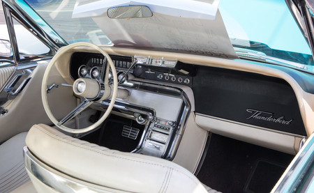 CONCORD, NC - April 8, 2017:  Interior of a 1964 Ford Thunderbird automobile on display at the Pennzoil AutoFair classic car show held at Charlotte Motor Speedway. Editorial