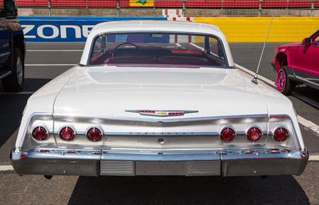 CONCORD, NC - April 8, 2017:  A 1962 Chevy Impala automobile on display at the Pennzoil AutoFair classic car show held at Charlotte Motor Speedway.