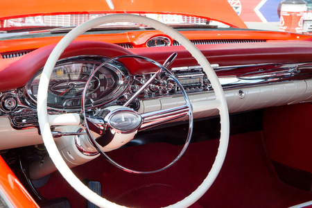 CONCORD, NC - September 22, 2017:  Interior of a 1957 Oldsmobile Ninety Eight on display at the Pennzoil AutoFair Classic Car Show at Charlotte Motor Speedway.