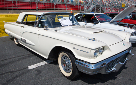 CONCORD, NC - September 22, 2017:  A 1958 Ford Thunderbird automobile on display at the Pennzoil AutoFair classic car show held at Charlotte Motor Speedway.