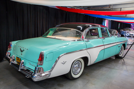 CONCORD, NC - September 22, 2017:  A 1955 DeSoto automobile on display at the Pennzoil AutoFair classic car show held at Charlotte Motor Speedway. Editorial