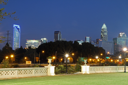 View of uptown Charlotte, North Carolina, from the Little Sugar Creek Greenway.