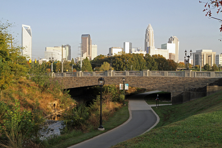 city park skyline: View of uptown Charlotte, North Carolina, from the Little Sugar Creek Greenway.