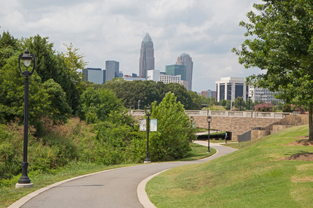 Urban greenway near downtown Charlotte, North Carolina. Stock Photo - 87592586