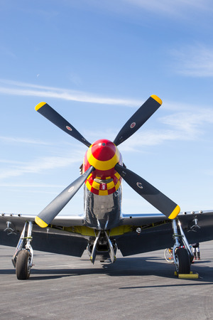 MONROE, NC - NOVEMBER 11, 2017:  A P-51 Mustang fighter aircraft on display at the Warbirds Over Monroe Air Show in Monroe, NC. Editorial