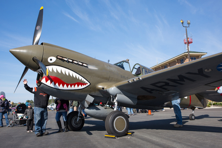 MONROE, NC - NOVEMBER 11, 2017:  A Curtiss P-40 Warhawk fighter aircraft on display at the Warbirds Over Monroe Air Show in Monroe, NC. Editorial