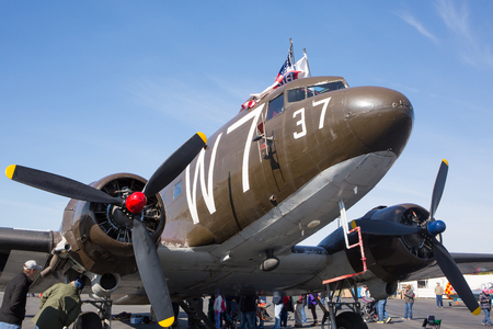 MONROE, NC - NOVEMBER 11, 2017:  A C-47 cargo aircraft on display at the Warbirds Over Monroe Air Show in Monroe, NC. Editorial