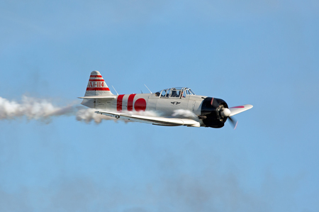 MONROE, NC - NOVEMBER 11, 2017:  Reenactment of the Japanese Attack on Pearl Harbor during Warbirds Over Monroe Air Show in Monroe, NC.