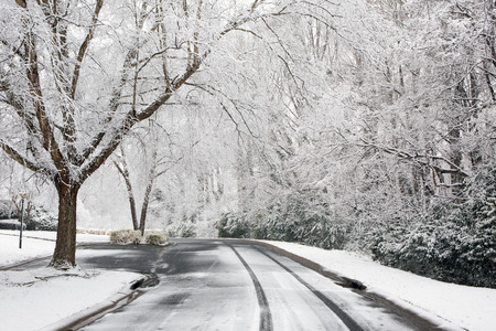 A neighborhood road with bare tree branches and falling snow.