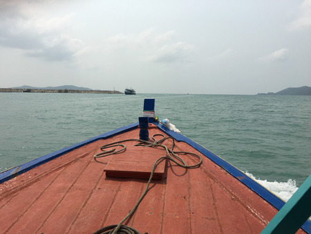 samet: On the way to Koh samet island by local wood boat - At Thailand Stock Photo