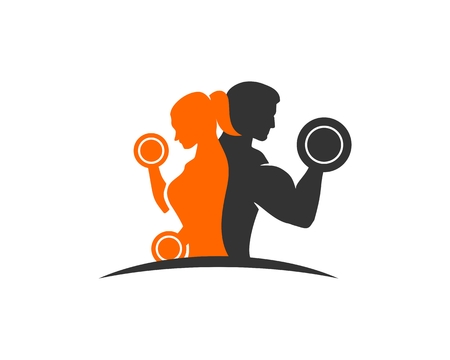 Paar fitness logo Stock Illustratie