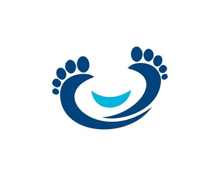 Smile Foot logo Vector illustration.