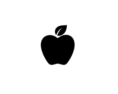 Black apple icon illustration on white background. Ilustração