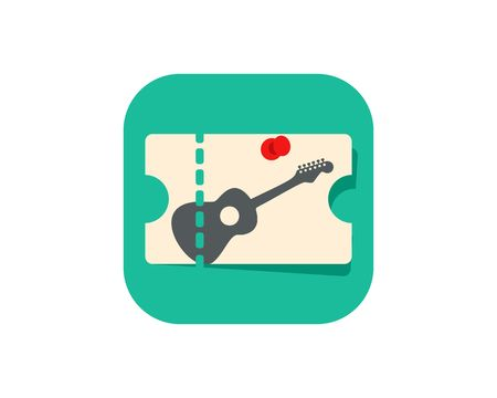 Concert ticket icon in green square illustration on white background.