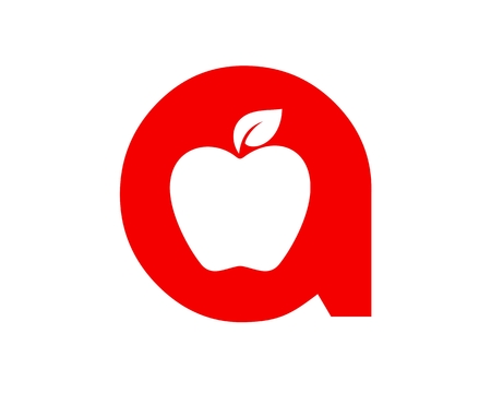 Apple, initial A icon illustration on white background.