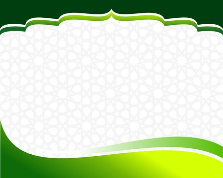 Islamic green border design template Illustration