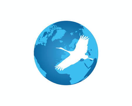 Travel bird on globe design