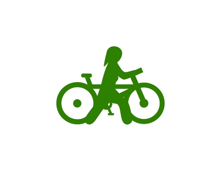 Female biker walking icon Ilustração
