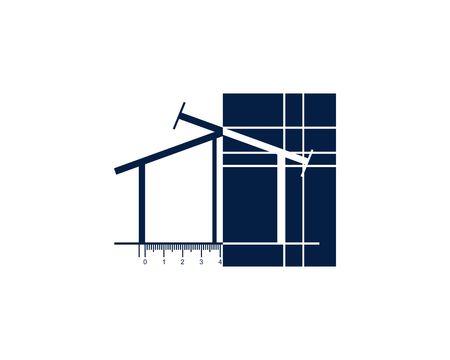 Blueprint house logo Banco de Imagens - 107192874
