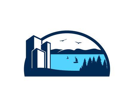 Lake view logo vector