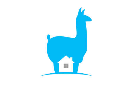 llama real estate with negative space