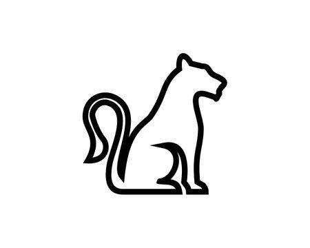 sitting lioness line vector logo