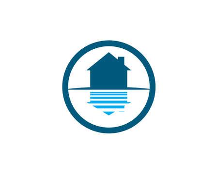 lake home in circle icon Ilustração