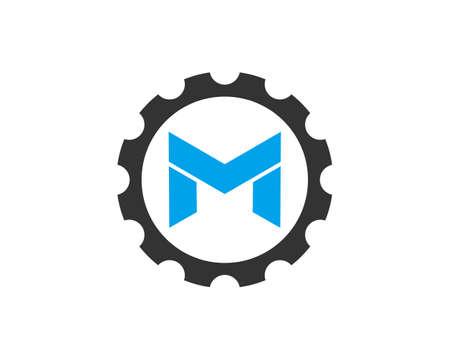 letter M gear logo icon