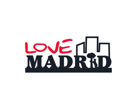 love urban madrid type vector Ilustração