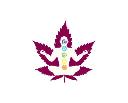 yoga meditation and cannabis leaf