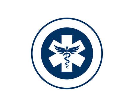 caduceus emblem blue color