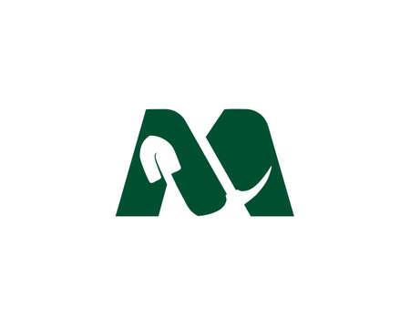 combine letter m and mining logo Ilustração