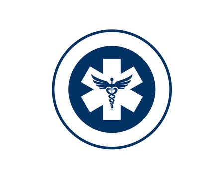 emblem caduceus medical logo Ilustração