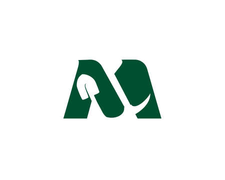 masculine letter m and mining logo