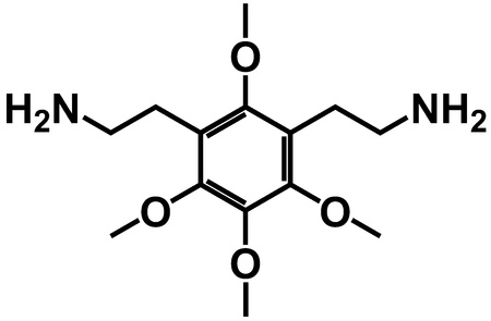 An illustration of a symmetrical chemical structure around a central ring