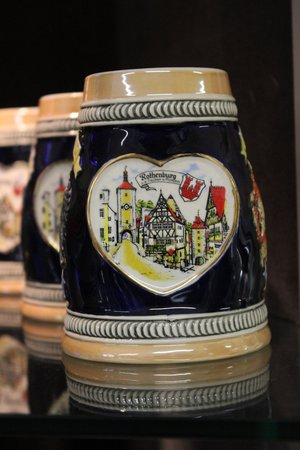 pewter mug: Rothenburg ob der Tauber, Souvenir Stein Stock Photo