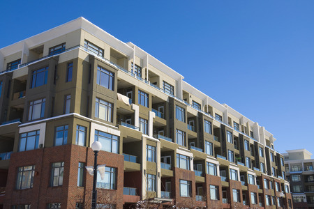 Tall apartment building in Calgary. Alberta, Canada. Residential architecture