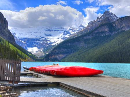 HDR Canoes on Lake Louise, Banff National Park, Alberta, Canada