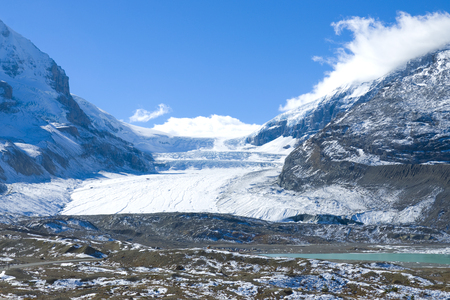 View of mountains and the icefields along the Icefield Highway in Jasper National Park, Alberta.
