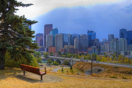 Park bench overlooking Skyscrapers of Calgary, Alberta, Canada